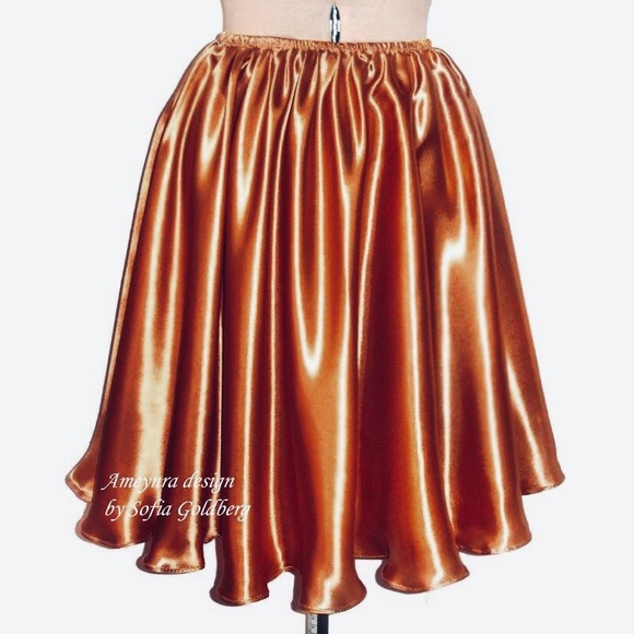 Dark-brown color All sizes in stock Long New Satin Skirt Ameynra design